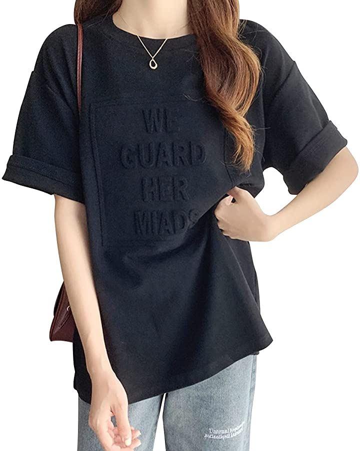 ロゴ Tシャツ シンプル ルーズ ミドル 発泡 カットソー クルーネック レディース(ブラック, XL)