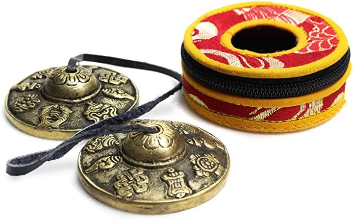 透き通る音色 チベタンベル ヨガ 瞑想 ティンシャベル チベット チベットベル チベタンシンバル 打楽器 治癒 風水 密教 仏教 法具 専用保護ケース