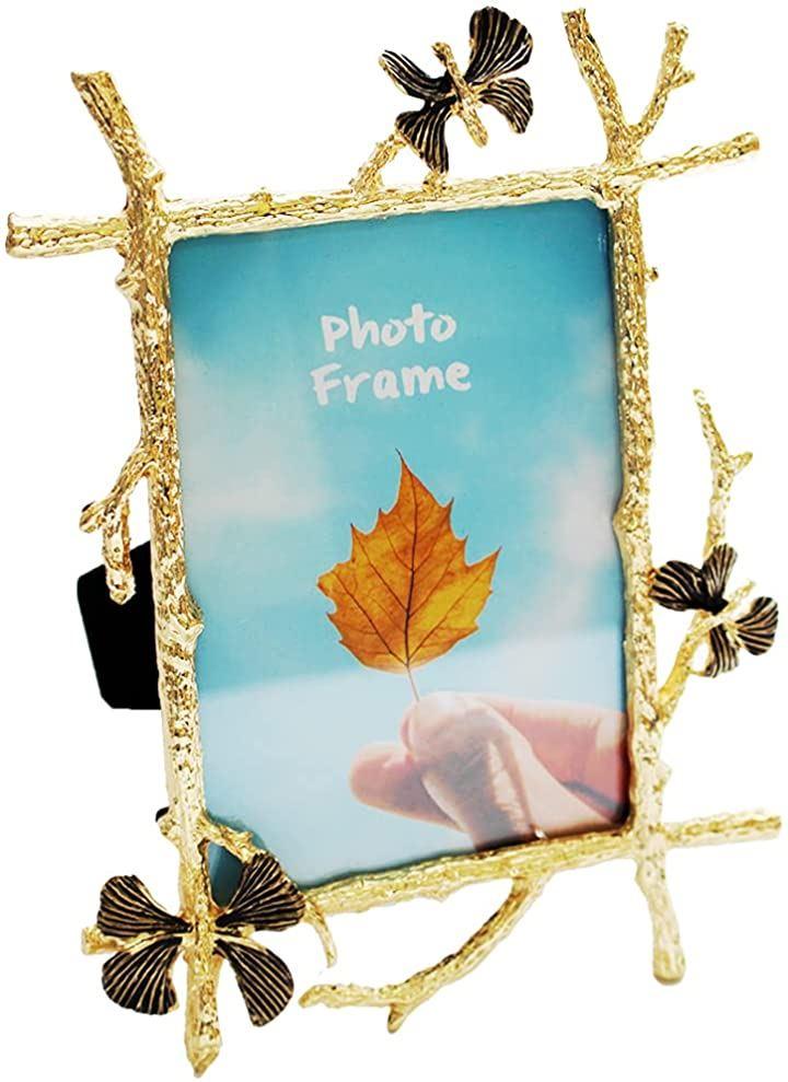 フォトフレーム 木製 写真立て おしゃれ フォトスタンド 写真縦 PF015(ゴールド)