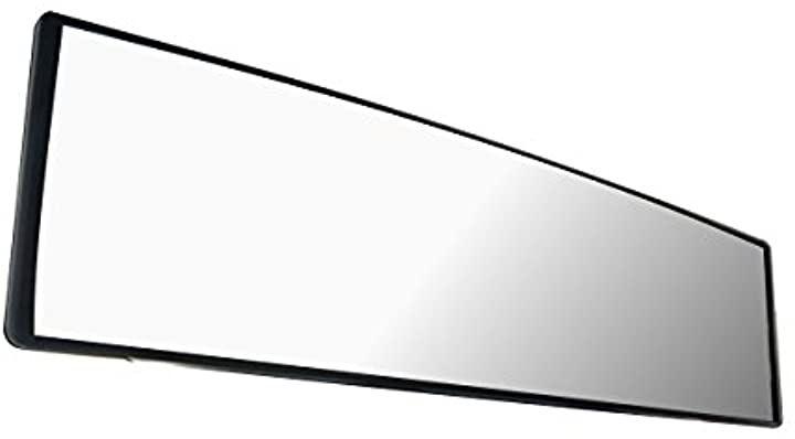 ルームミラー 車用 視野拡大 曲面鏡 クローム 240mm ブラックフレーム