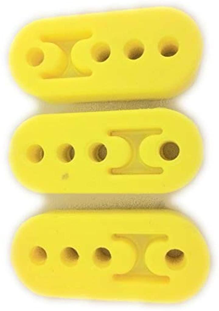 マフラーハンガー 吊りゴム 強化 マフラーリング マフラーブッシュ 強化ゴム 可調整 イエロー 12mm 4ホール 3個 セット