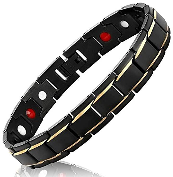 ゲルマニウム 磁気 パワーストーン ブレスレット プレゼント ボックス付き メンズ バングル ブラック