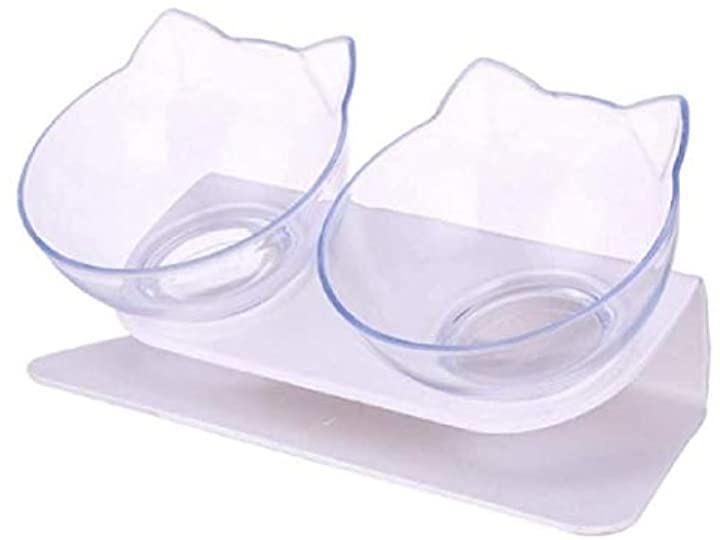 フードボウル 猫 犬 餌入れ ペット用食器 透明皿2個セット 滑り止め台座(透明、白)