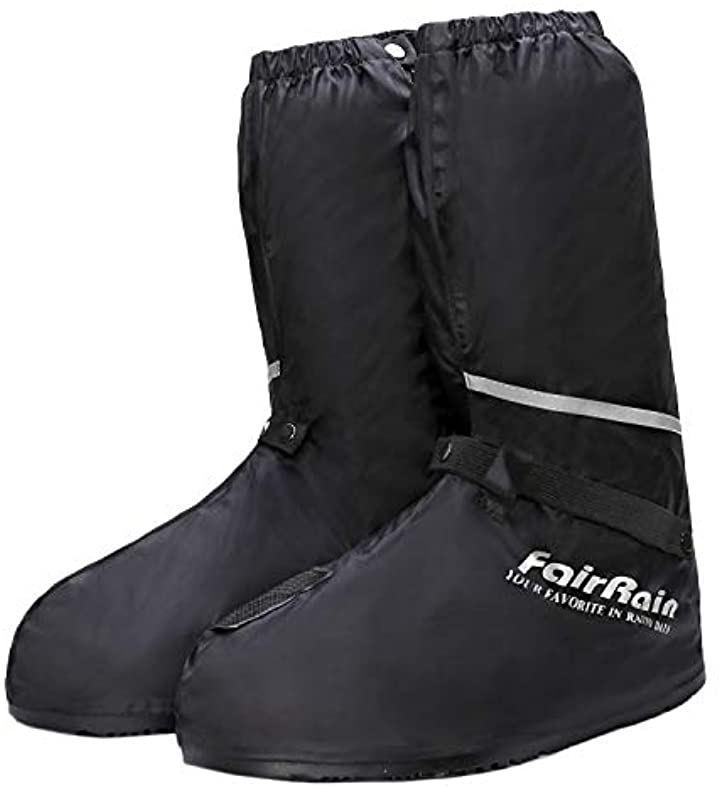 バイク ブーツカバー 靴カバー シューズカバー 防水 L nkr1133 ライン入り(ブラック, L 26-27cm)