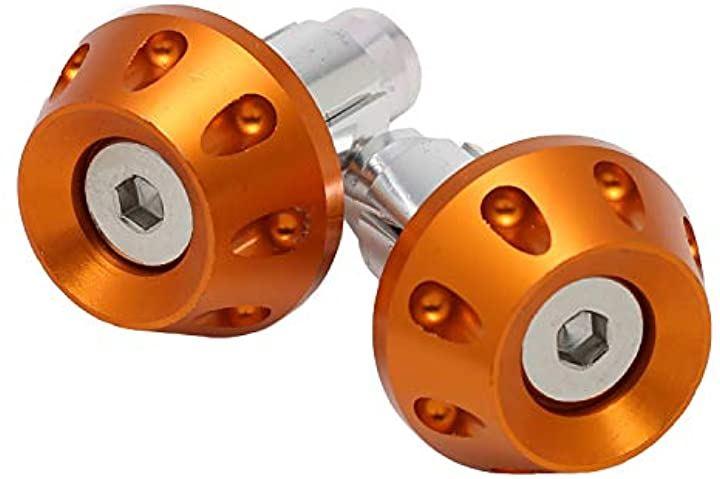 バイク グリップ バーエンド アルミ 22.2mm ハンドル用 ライブディオ リモコンジョグ トゥデイ アルミハンドル対応タイプ nkr1157(オレンジゴールド)
