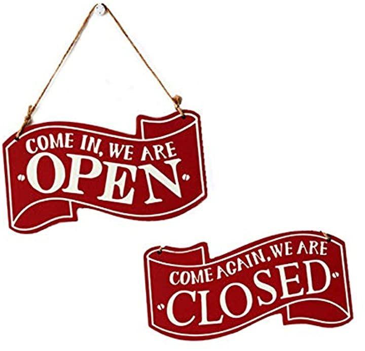サインプレート OPEN & CLOSED 木製 看板 開店 閉店 おしゃれな リバーシブル 仕様 店舗 インテリア(レッド)