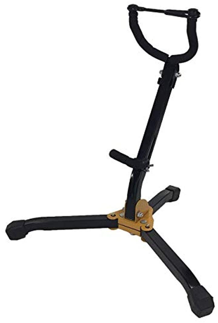 折りたたみ アルト テナー サックス 兼用 スタンド 改良調整タイプ 三脚 ホルダー(イエロー)
