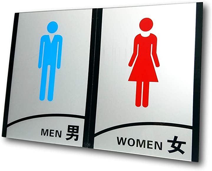 トイレ表示 トイレ表記 トイレプレート トイレ標識 表示プレート 看板(男女各1枚)