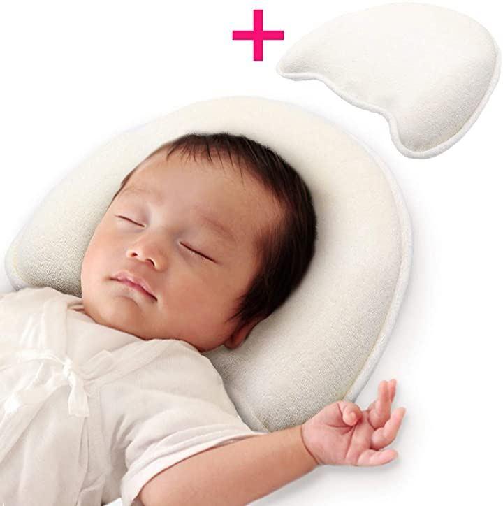 ドーナツ枕 ベビー枕 向き癖防止 絶壁頭 斜頭 変形 補正 男女兼用 低反発ピロー 頭の形が良くなる 国内安全検査済み(アイボリー)