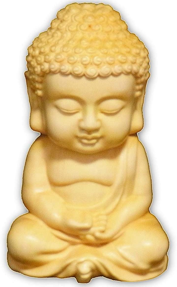 ナギ・サウンド 如来 像 木彫り 置物 仏 釈迦 お守り インテリア 仏壇 大叶 ツゲ