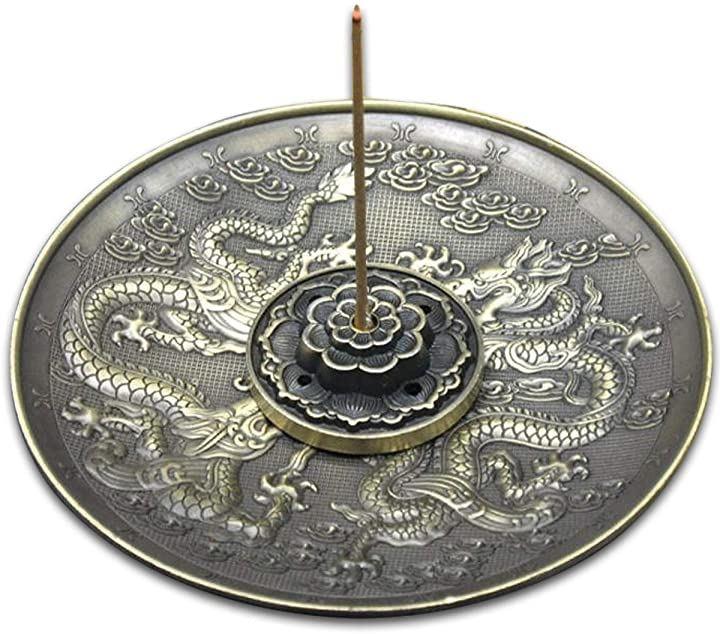 香皿 お香 立て 龍 蓮 5孔 香道 香立て 合金製(青銅色)