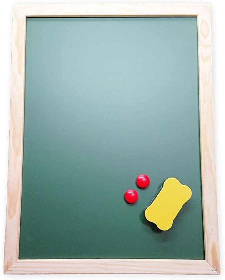 黒板 ブラックボード ホワイトボード マグネット 両面使用可能 掲示板 小型 看板 卓上 壁掛け 会議室 オフィス 家庭用 店舗用 白板ボード 木フレーム ミニ 30cm×40cm(黒)
