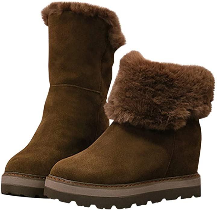 シンプル ふわふわ ムートン調 インヒール ボア 2WAY ブーツ レディース ブラウン 39 24.5cm(ブラウン 39(24.5cm), 24.5 cm)