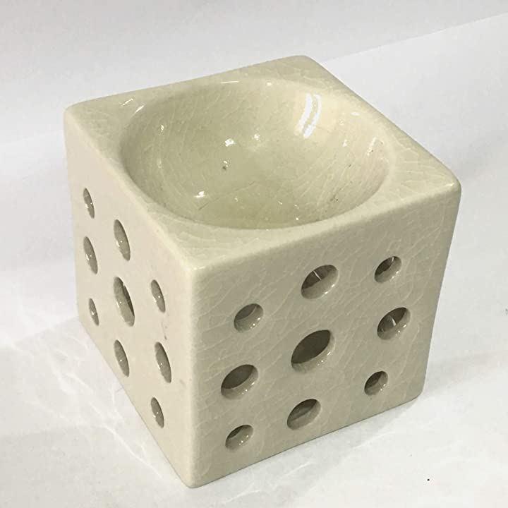 アロマポット 角型 白 香炉 陶器 アロマ炉 キャンドル式 オイルバーナー