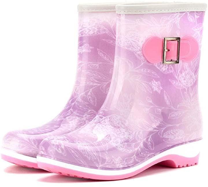 レインシューズ レディース 無地 ショート ブーツ 長靴 レインブーツ ミドルブーツ シンプル デザイン 22.5~23.0cm 36(パープル, 22.5~23.0 cm)