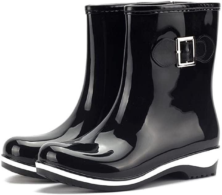 レインシューズ レディース 無地 ショート ブーツ 長靴 レインブーツ ミドルブーツ シンプル デザイン 23.5~24.0cm 38(ブラック, 23.5~24.0 cm)
