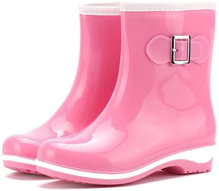 レインシューズ レディース 無地 ショート ブーツ 長靴 レインブーツ ミドルブーツ シンプル デザイン 22.5~23.0cm 36(ピンク, 22.5~23.0 cm)