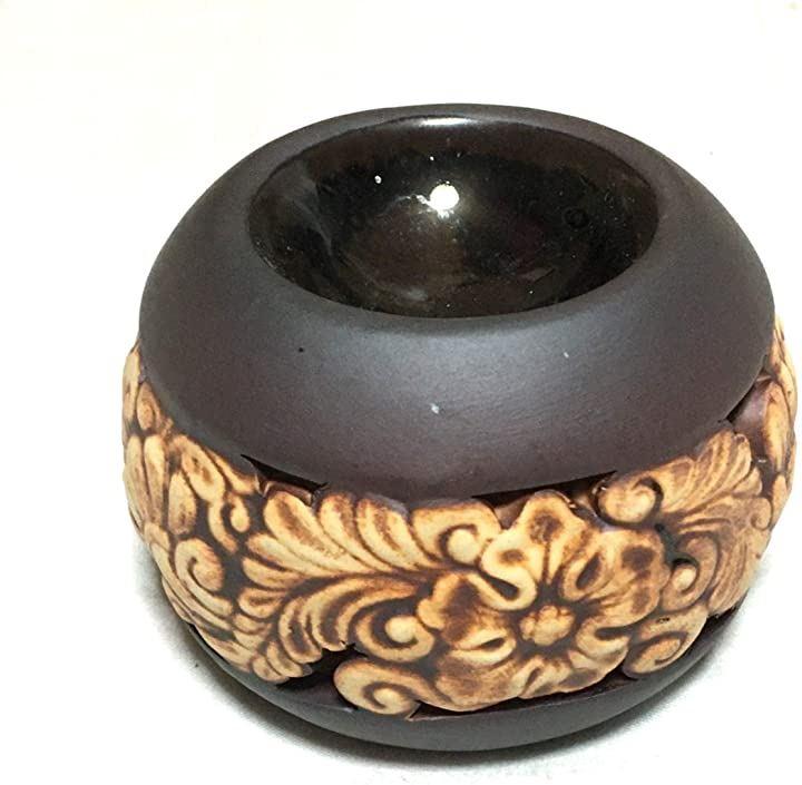 アロマポット 丸型 茶2 フラワー柄 直径9.5cm キャンドル式オイルバーナー チェンマイ産 陶器 アロマ炉 タイ