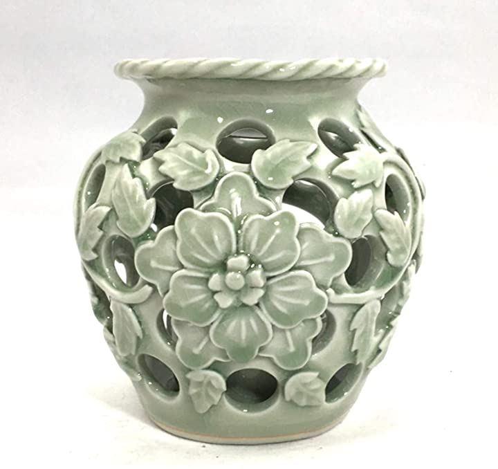 セラドン焼 アロマバーナー アロマポット タイ 陶器(緑)