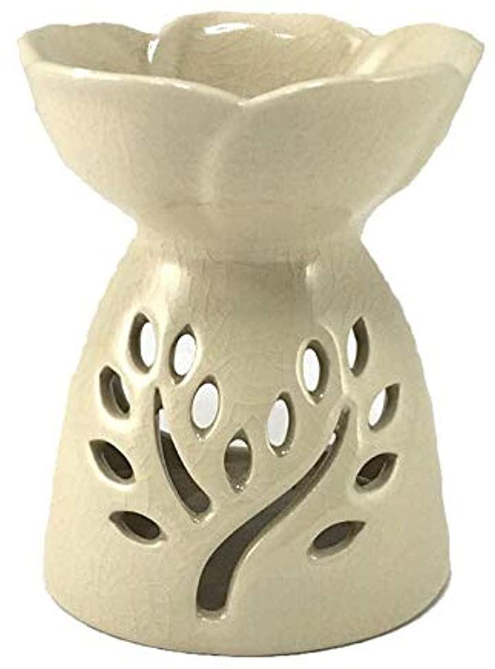 アロマポット ツリー模様スリット 陶器アロマバーナー(白)