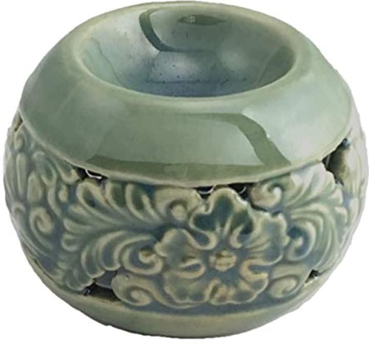 アロマポット 緑 丸型 フラワー カ ービング柄 陶器 アロマ炉 キャンドル式 オイルバーナー