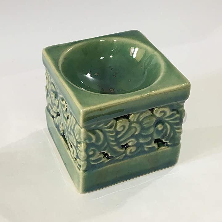 アロマポット 角型 フラワー カ ービング柄 チェンマイ産 陶器 アロマ炉 キャンドル式オイルバーナー(緑)