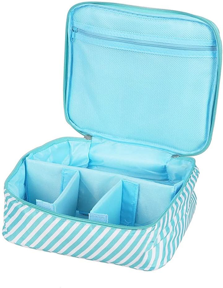 メイクボックス 旅行用化粧ケース コスメ バッグ トラベル化粧ポーチ メイクブラシ 小物入れ 収納(ブルーストライプ)