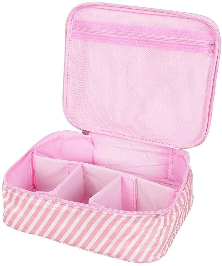 メイクボックス 旅行用化粧ケース コスメ バッグ トラベル化粧ポーチ メイクブラシ 小物入れ 収納(ピンクストライプ)