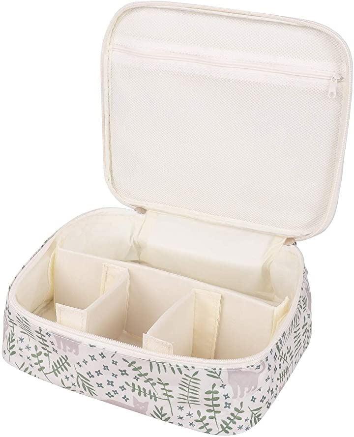 メイクボックス 旅行用化粧ケース コスメ バッグ トラベル化粧ポーチ メイクブラシ 小物入れ 収納 ホワイト キャット(ホワイト キャット)