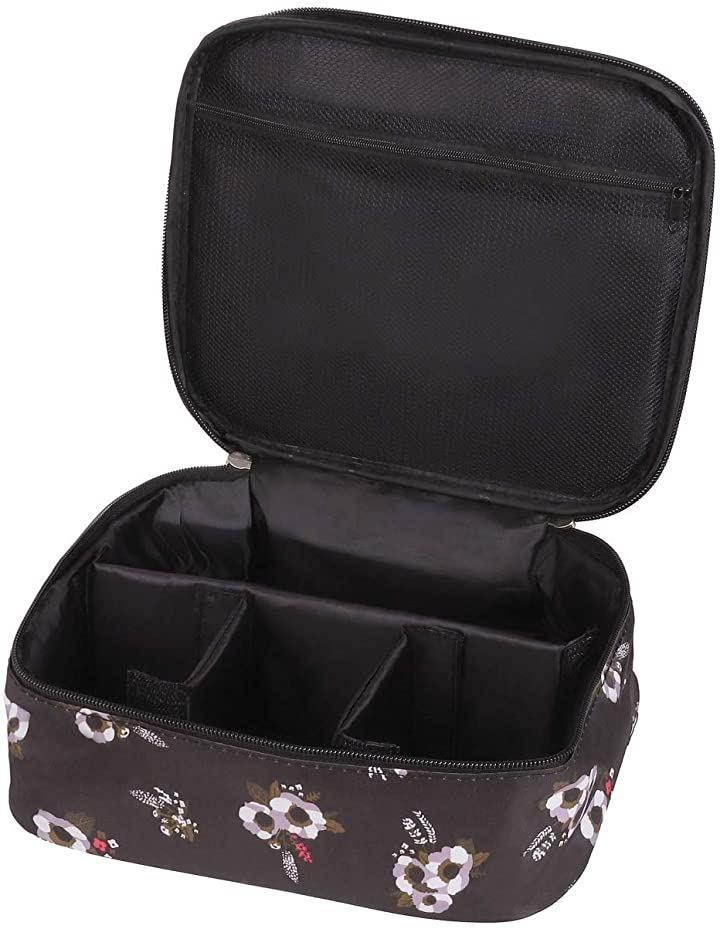 メイクボックス 旅行用化粧ケース コスメ バッグ トラベル化粧ポーチ メイクブラシ 小物入れ 収納 ブラック フラワー(ブラック フラワー)