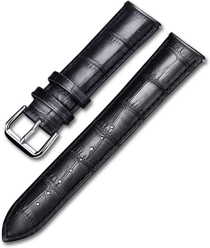 時計ベルト 本革 レザー 腕時計バンド 交換ベルト 20mm 工具不要 取り付け簡単 調整可能(ブラック)