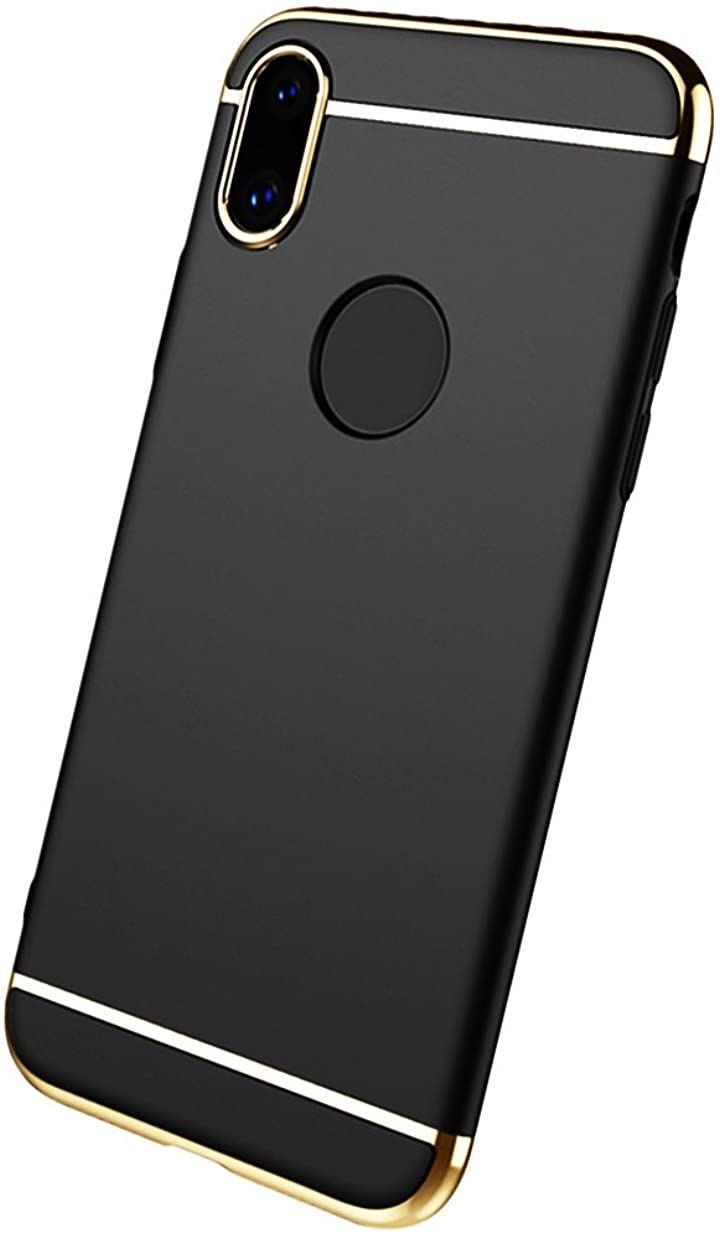 iPhone X ケース 3in1 薄型 軽量 メッキ加工 ストラップホイール付き