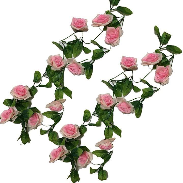 造花 フェイクフラワー 2点セット インテリア ディスプレイ 観葉植物 壁掛け 模様替え 装飾(バラ・ピンクⅹ2)