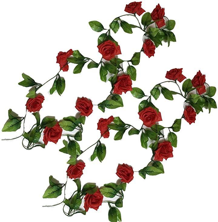 造花 フェイクフラワー 2点セット インテリア ディスプレイ 観葉植物 壁掛け 模様替え 装飾(バラ・レッドⅹ2)