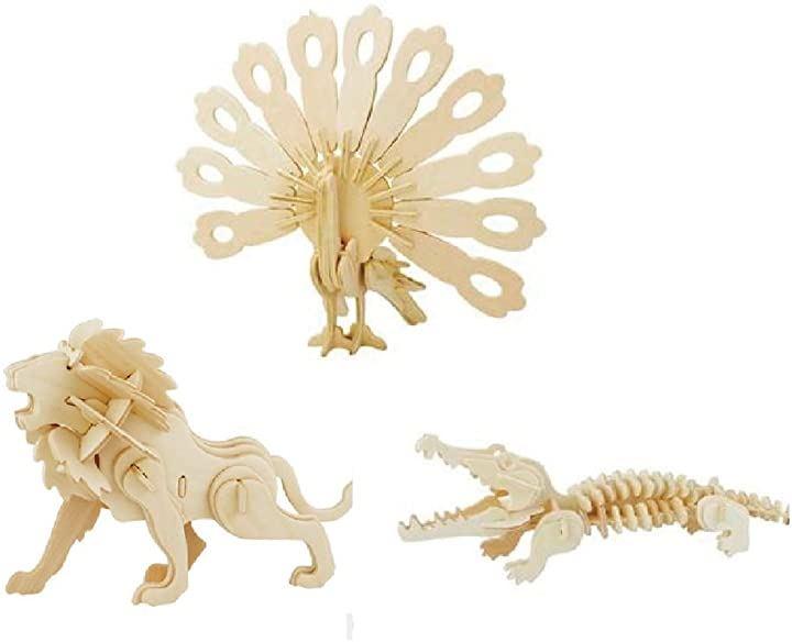 3D 木製 立体パズル 3点セット DIY 恐竜、動物、爬虫類 etc 創造力を鍛える 知育玩具 夏休み 工作キットにも最適。 B:動物-2(B:動物-2)