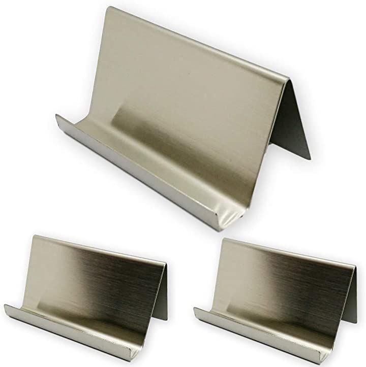カードスタンド 卓上 名刺立て ステンレス製 ショップカード 美容室 見やすい角度 3個セット