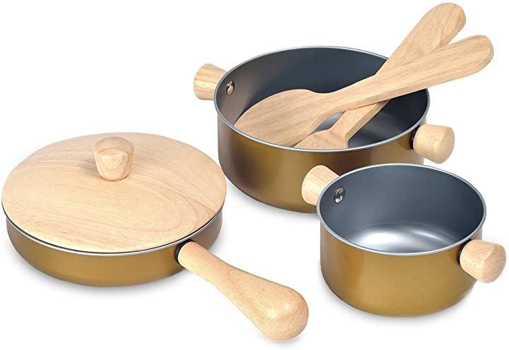 プラントイ 木製おままごとセット 調理用具セット 安全安心 鍋 フライパン クッキングセット(調理器具セット, 単品)