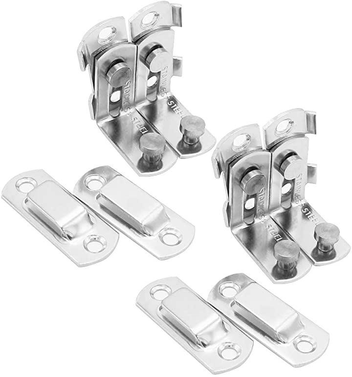 ドアバックル 4個セット ロック 施錠 鍵 スライド式 留め金 後付け セキュリティ対策