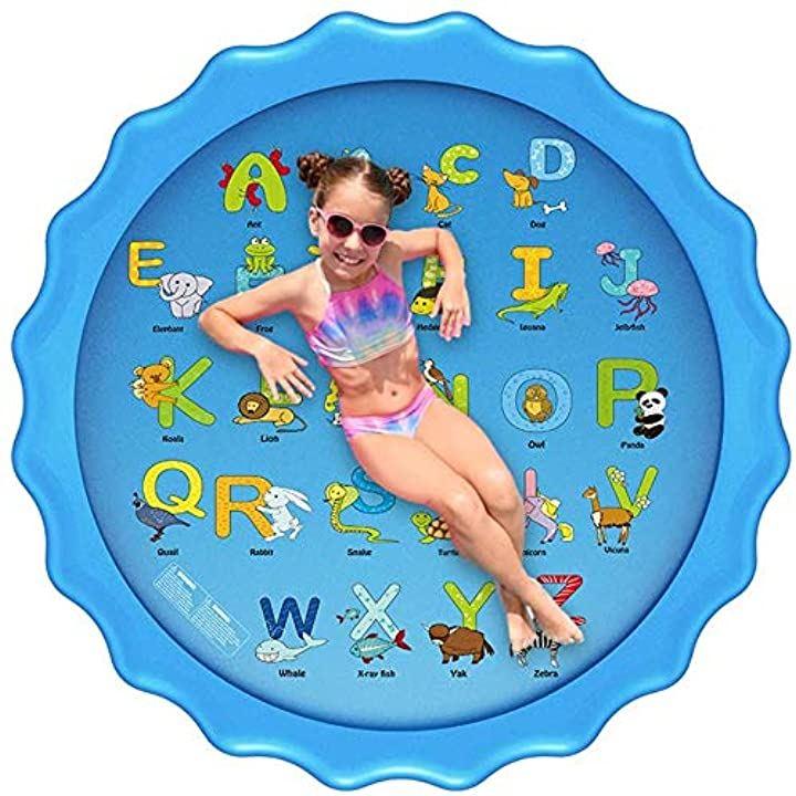 噴水マット 26の文字と対応する単語こども用 噴水おもちゃ ビニールプール プレイマット プール噴水 みずあそび 芝生遊び 夏の庭 暑さ対策 直径170CM 大型プールマット