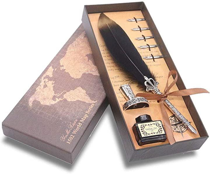 羽ペン ペン立て インクボトル セット レトロ クイルペン 署名用 大きい 羽飾り 万年筆(ブラック)