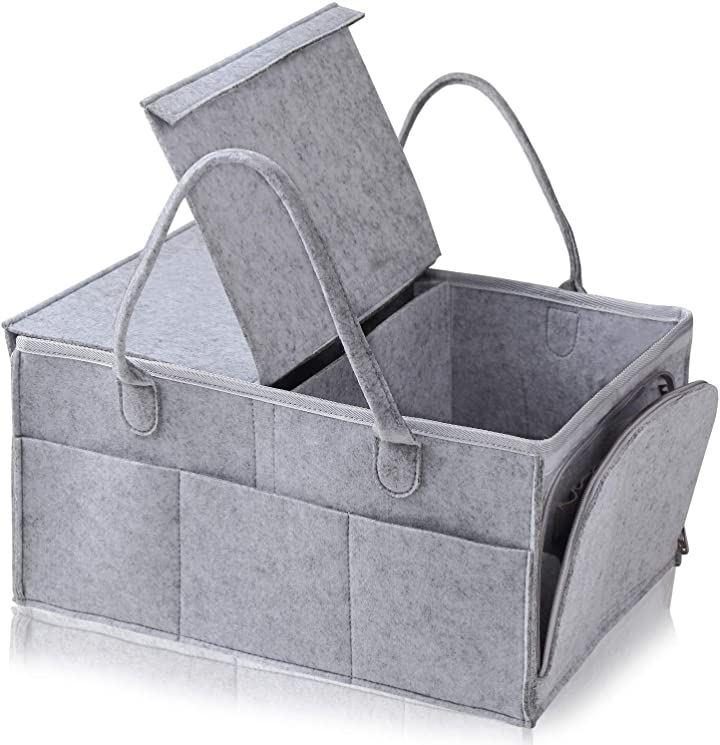 M2g おむつストッカー オムツバッグ ベビー用品 収納ケース おむつ収納バッグ 蓋つき 折りたたみ グレー おもちゃ 小物入れ 赤ちゃん 出産準備(グレー)