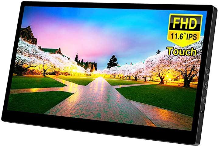 USB ポータブルモニター 11.6インチ IPS タッチパネル 1080P FHD 1920 * 1080解像度USB C/HDMIビデオ入力 HDRを支持 薄型 スピーカー内蔵 アルミニウム合金殻