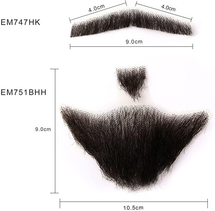 付け髭 ひげ 口髭 人毛ウィッグ 髪製髭 手作り本物 コスプレ用ダンス用髭 1セット