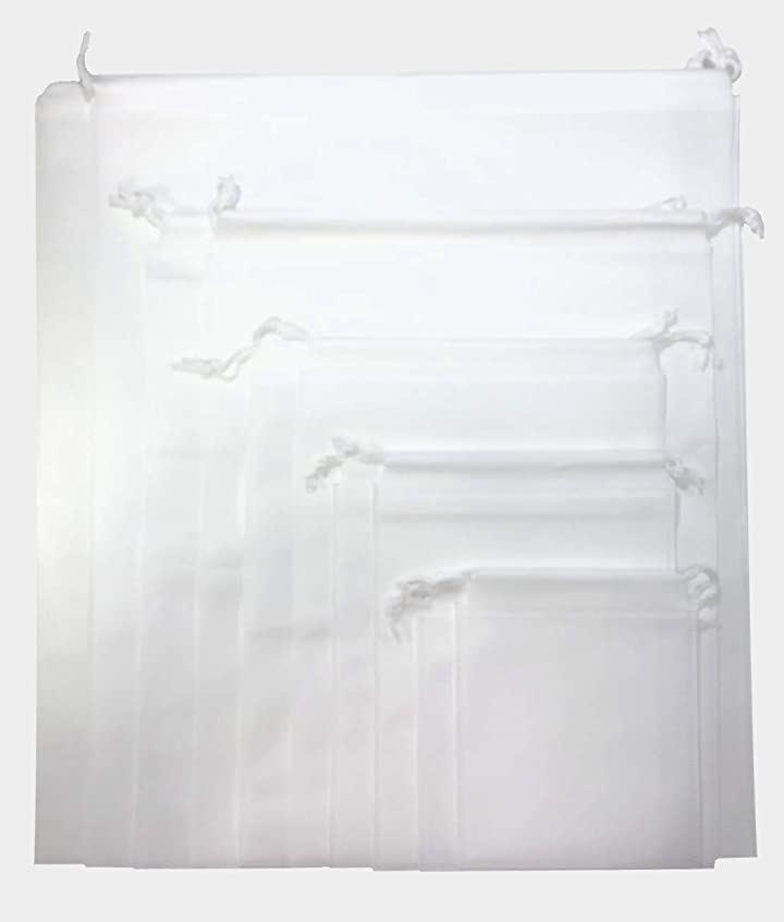 猫街ラッピング 不織布 巾着 バッグ 収納 5サイズ各2枚10枚組 fu-10w(ホワイト)