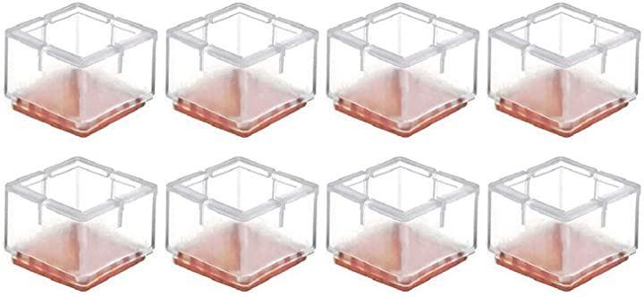イス脚キャップクリアー 椅子脚キャップ 正方形型 角足 専用 角型 8個 セット 外径 49mm ~ 55mm 対応 イス足カバー 椅子脚カバー 騒音 床 キズ防止 滑り防止 シリコン(透明, 正方形 49mm~55mmサイズの脚に使用可能)