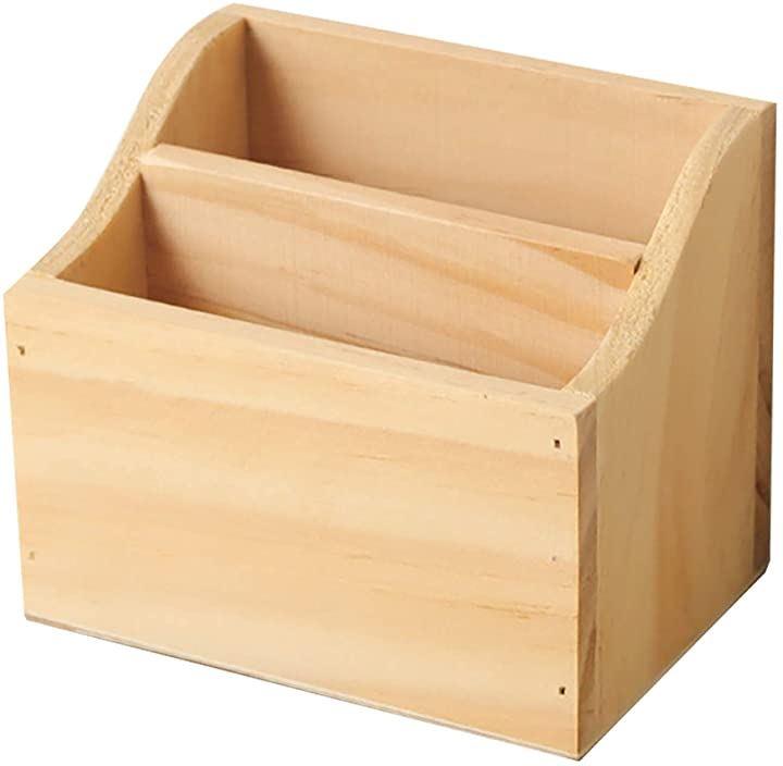 小物収納ボックス 卓上 リモコンボックス 木製 ペン立て 多機能 ペンスタンド(ナチュラルカラー)