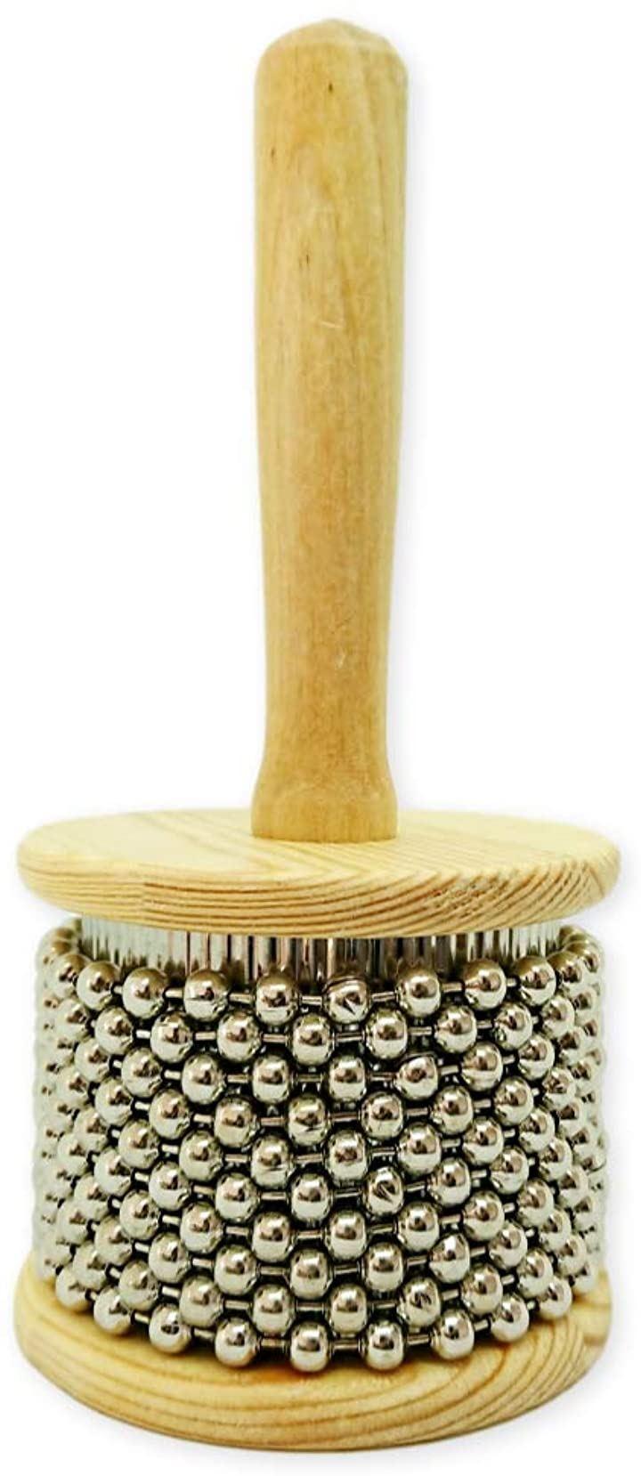 カバサ 木製 パーカッション メタル ビーズ チェーン シリンダー ポップ ハンド シェーカー 円筒 楽器