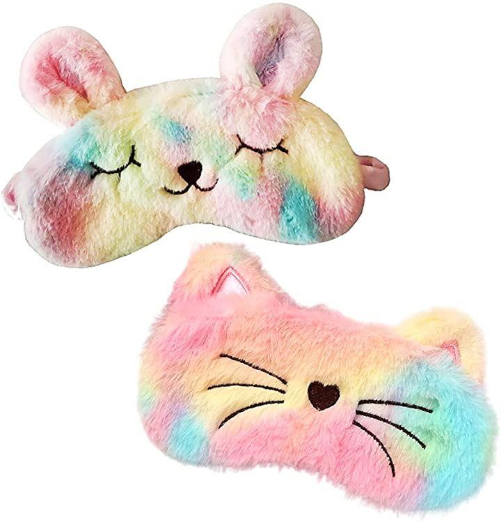 アイマスク 猫 兎 2種 セット かわいい 快眠 睡眠 安眠 遮光 就寝 アイピロー 子供 大人 アニマル
