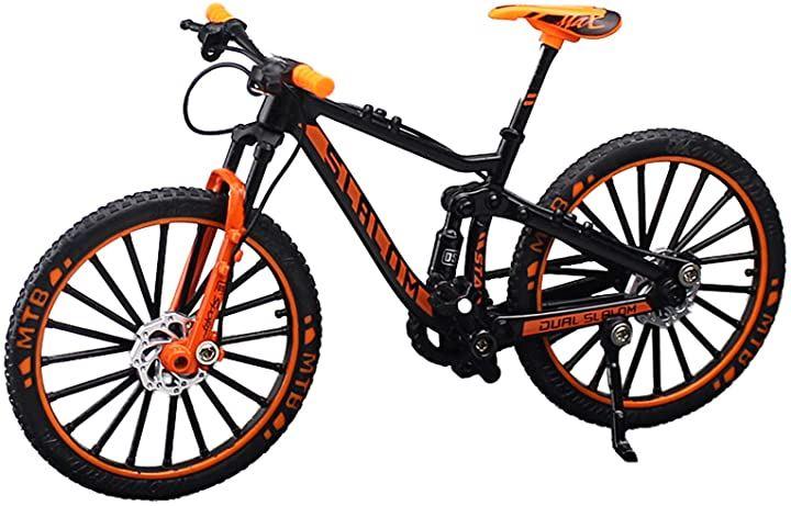自転車 おもちゃ 玩具 ハンドル 3色 MTB マウンテンバイク 模型 1/10(オレンジ)
