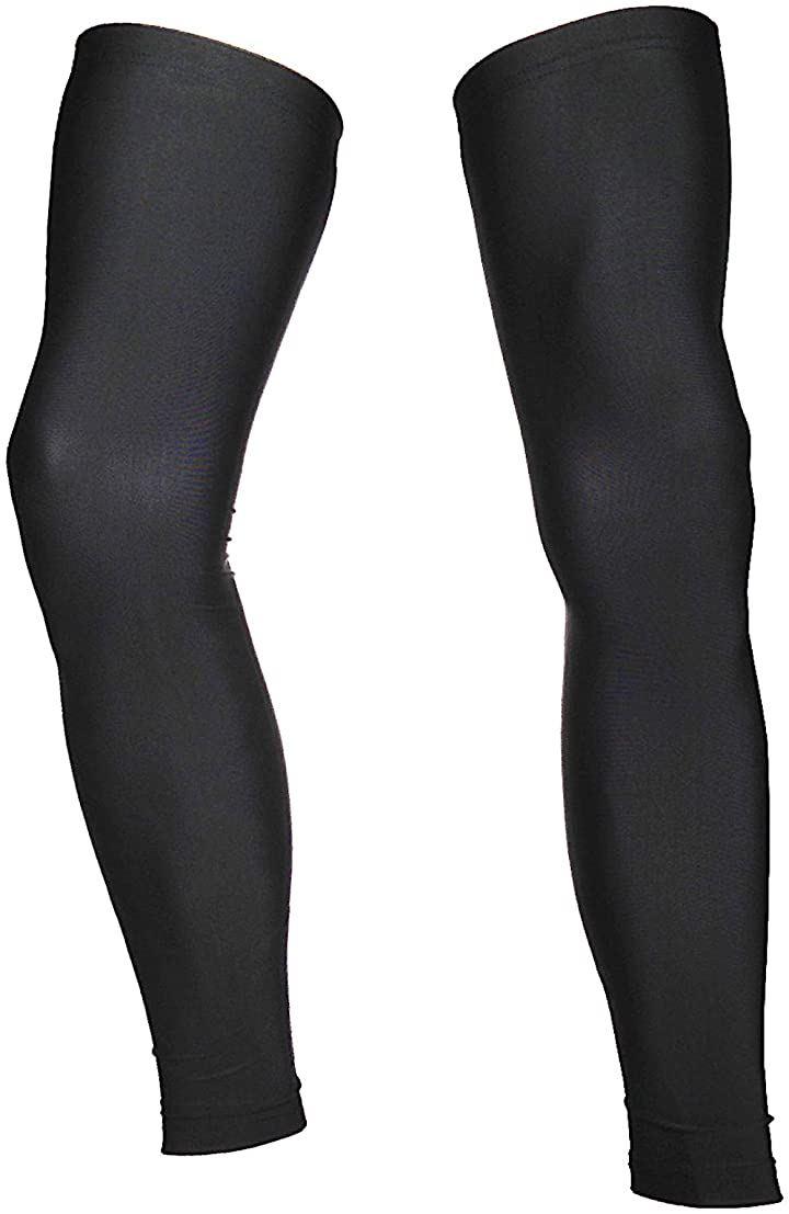 サイクル レッグカバー UVカット99% UPF50+ 滑り止め付き 黒(ブラック, M)